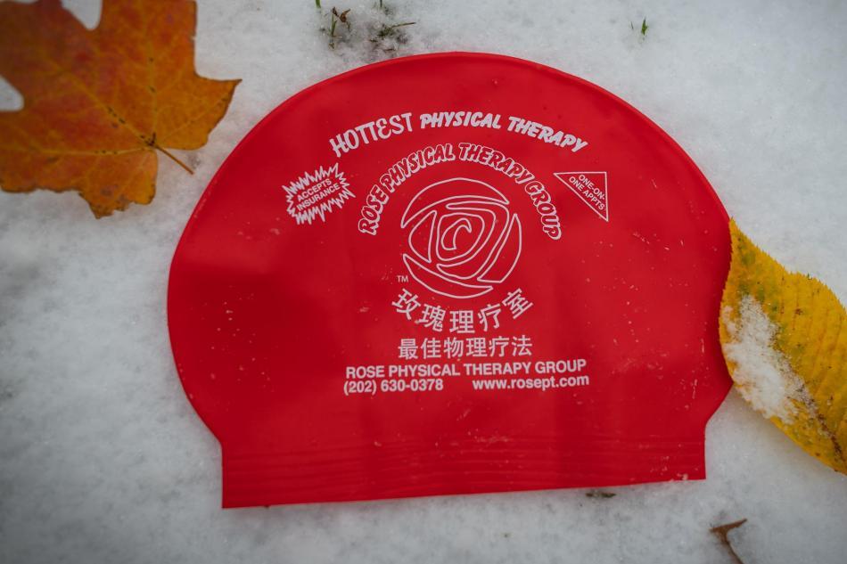 red hot rose swim cap